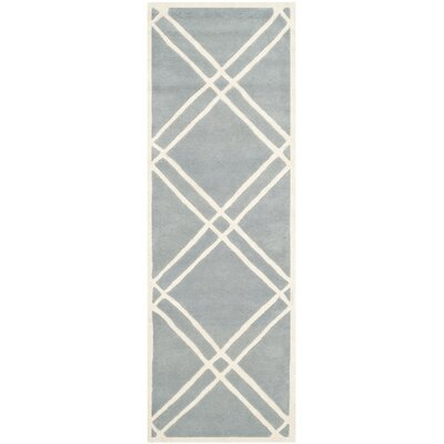 Wilkin Hand-Tufted Wool Blue/Ivory Area Rug Rug Size: Runner 23 x 7
