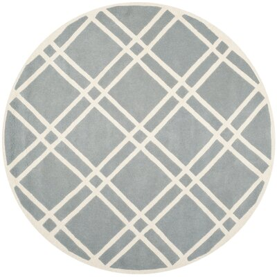 Wilkin Hand-Tufted Wool Blue/Ivory Area Rug Rug Size: Round 7