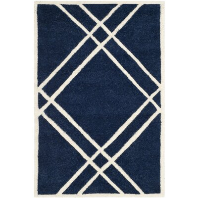 Wilkin Hand-Tufted Wool Dark Blue/Ivory Area Rug Rug Size: Rectangle 2 x 3