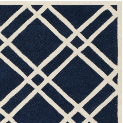 Wilkin Hand-Tufted Wool Dark Blue/Ivory Area Rug Rug Size: Rectangle 89 x 12