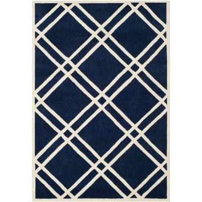 Wilkin Dark Blue/Ivory Area Rug Rug Size: 4' x 6'