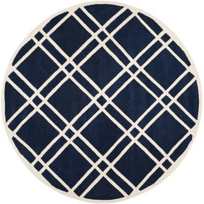 Wilkin Dark Blue/Ivory Area Rug Rug Size: Round 7
