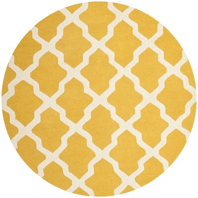 Charlenne Gold & Ivory Area Rug Rug Size: Round 6