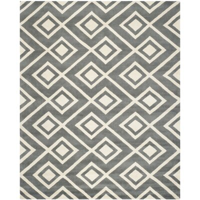 Wilkin Hand-Tufted Wool Dark Gray/Ivory Area Rug Rug Size: Rectangle 89 x 12