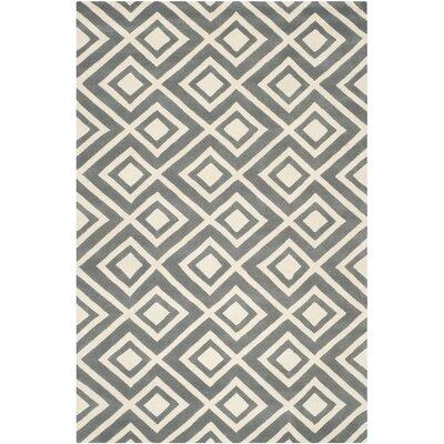 Wilkin Dark Grey & Ivory Area Rug Rug Size: 6 x 9