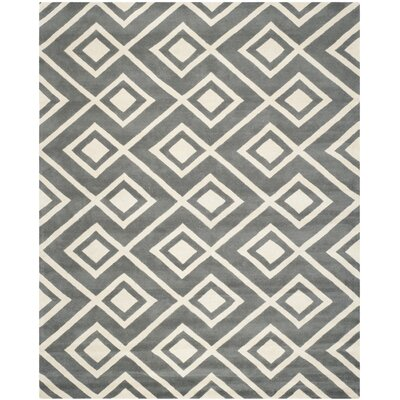 Wilkin Dark Grey & Ivory Area Rug Rug Size: Rectangle 8 x 10