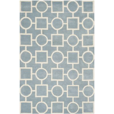 Wilkin Hand-Tufted Wool Blue/Ivory Rug Rug Size: Rectangle 6 x 9