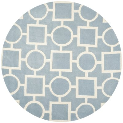 Wilkin Hand-Tufted Wool Blue/Ivory Rug Rug Size: Round 7