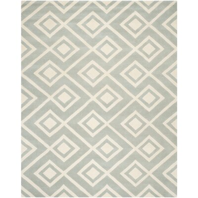 Wilkin Hand-Woven Gray/Ivory Area Rug Rug Size: Rectangle 8 x 10
