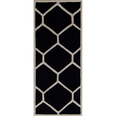 Martins Hand-Tufted Wool Black/Ivory Area Rug Rug Size: Runner 26 x 6