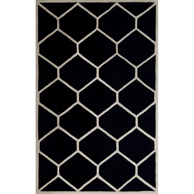 Martins Hand-Tufted Wool Black/Ivory Area Rug Rug Size: Rectangle 5 x 8