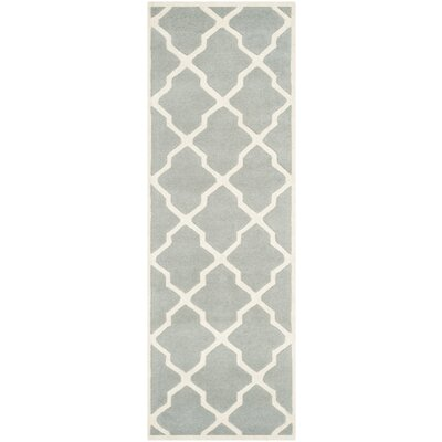 Wilkin Hand-Tufted Wool Gray/Ivory Area Rug Rug Size: Runner 23 x 5