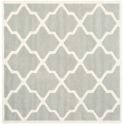 Wilkin Hand-Tufted Wool Gray/Ivory Area Rug Rug Size: Square 5