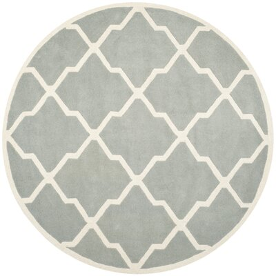 Wilkin Hand-Tufted Wool Gray/Ivory Area Rug Rug Size: Round 7