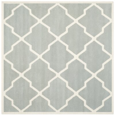 Wilkin Hand-Tufted Wool Gray/Ivory Area Rug Rug Size: Square 89