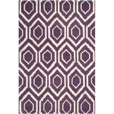 Wilkin Purple/Ivory Area Rug Rug Size: Rectangle 4 x 6
