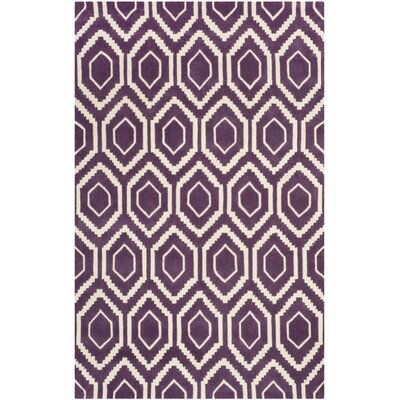 Wilkin Purple/Ivory Area Rug Rug Size: Rectangle 5 x 8