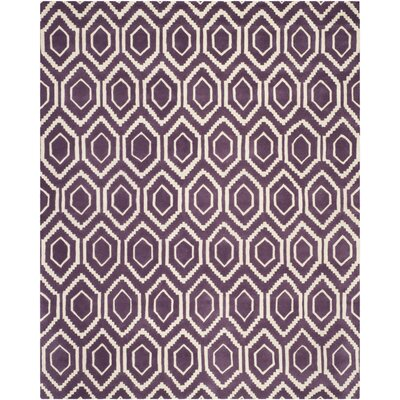 Wilkin Hand-Tufted Wool Purple/Ivory Area Rug Rug Size: Rectangle 8 x 10