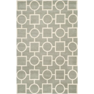 Wilkin Hand-Tufted Wool Gray/Ivory Rug Rug Size: Rectangle 6 x 9