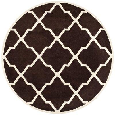 Wilkin Dark Brown / Ivory Rug Rug Size: Round 7