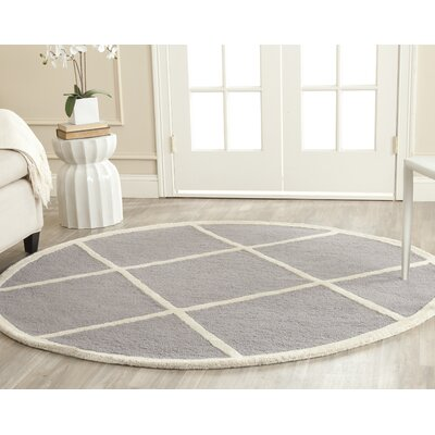 Martins Hand-Tufted Wool Gray/Ivory Area Rug Rug Size: Round 4'