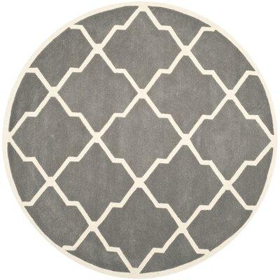 Wilkin Hand-Tufted Dark Gray/Ivory Area Rug Rug Size: Round 7