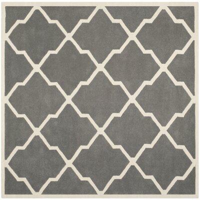 Wilkin Dark Grey / Ivory Rug Rug Size: Square 7