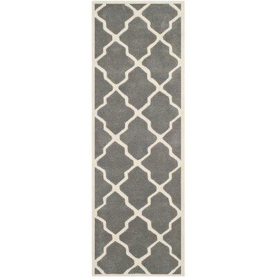 Wilkin Dark Grey / Ivory Rug Rug Size: Runner 23 x 7