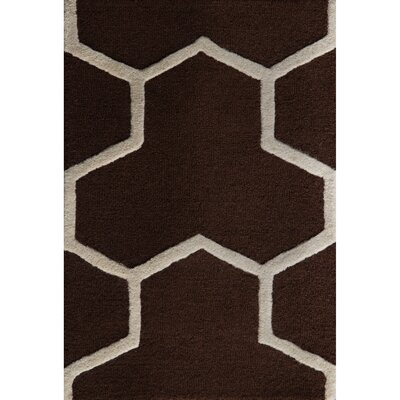 Martins Hand-Tufted Wool Brown/Ivory Area Rug Rug Size: Rectangle 8 x 10