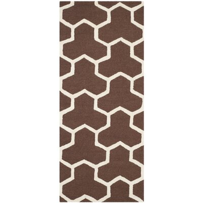 Martins Hand-Tufted Wool Brown/Ivory Area Rug Rug Size: Runner 26 x 6