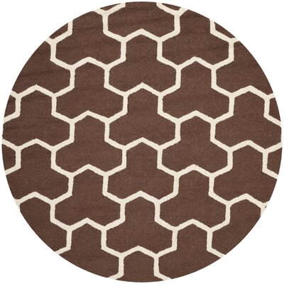 Martins Hand-Tufted Wool Brown/Ivory Area Rug Rug Size: Round 6