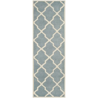 Wilkin Hand-Tufted Wool Blue/Ivory Area Rug Rug Size: Runner 23 x 9