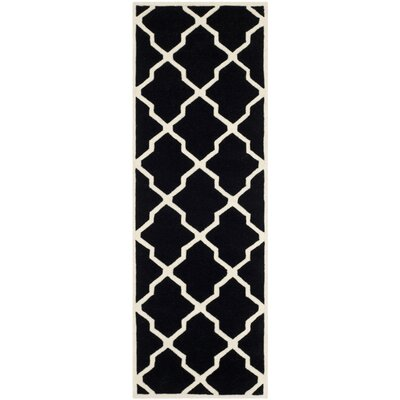 Wilkin Hand-Tufted Black/Ivory Area Rug Rug Size: Runner 23 x 7