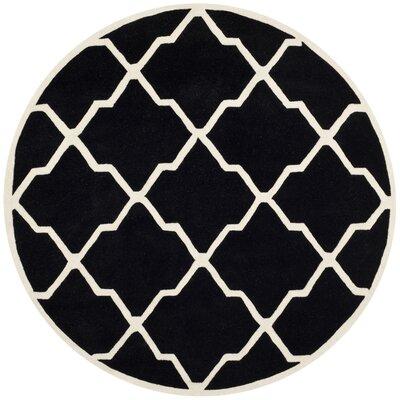 Wilkin Black / Ivory Rug Rug Size: Round 7