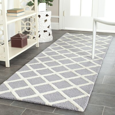 Martins Silver / Ivory Area Rug Rug Size: Runner 26 x 12