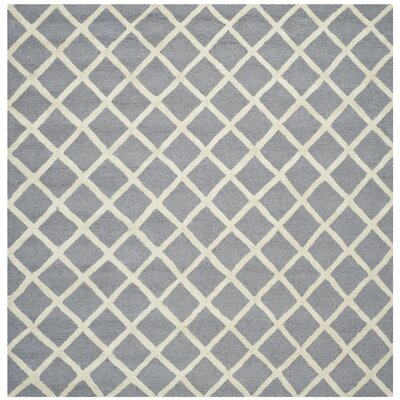 Martins Silver / Ivory Area Rug Rug Size: Square 4