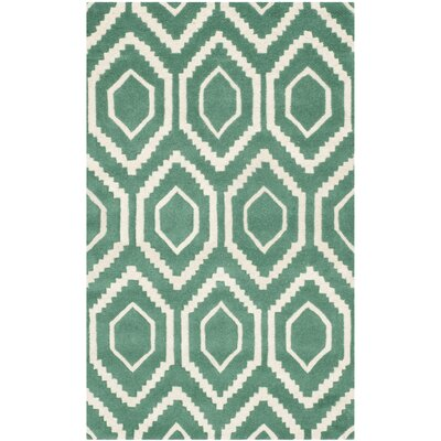 Wilkin Teal / Ivory Rug Rug Size: 3 x 5