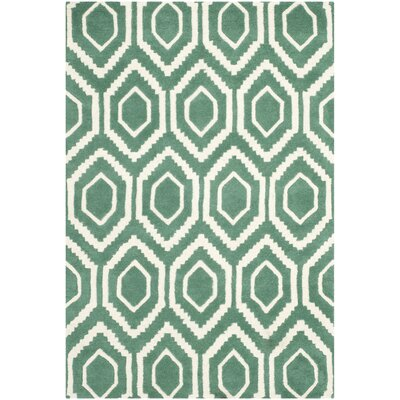 Wilkin Hand-Tufted Wool Teal/Ivory Area Rug Rug Size: Rectangle 4 x 6