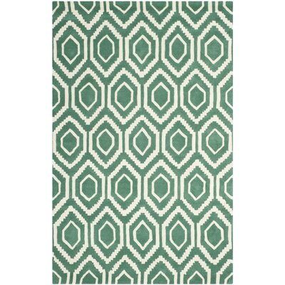 Wilkin Hand-Tufted Wool Teal/Ivory Area Rug Rug Size: Rectangle 5 x 8