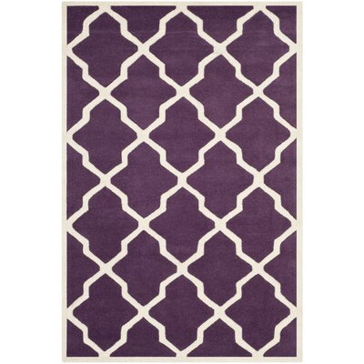 Wilkin Purple / Ivory Rug Rug Size: 4 x 6