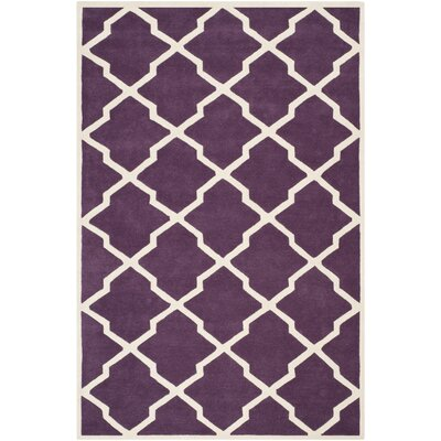Wilkin Hand-Tufted Purple/Ivory Area Rug Rug Size: Rectangle 3 x 5