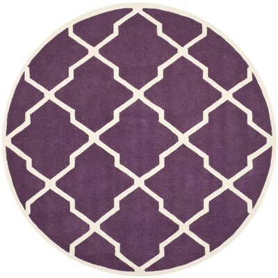 Wilkin Hand-Tufted Purple/Ivory Area Rug Rug Size: Round 7