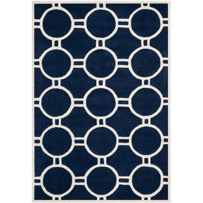 Wilkin Dark Blue / Ivory Rug Rug Size: Rectangle 4 x 6
