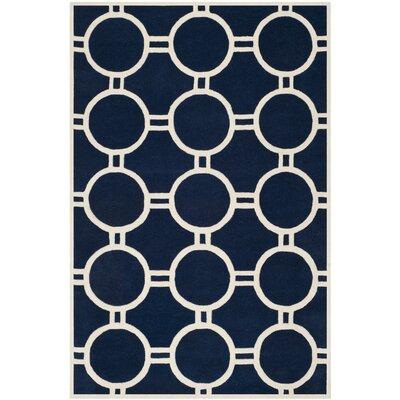 Wilkin Dark Blue / Ivory Rug Rug Size: Rectangle 6 x 9