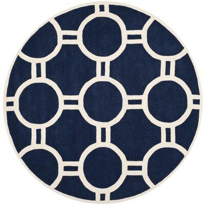 Wilkin Dark Blue / Ivory Rug Rug Size: Round 7
