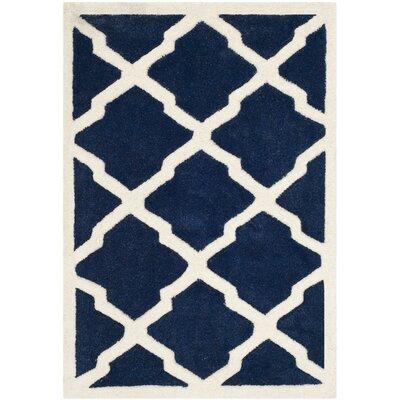 Wilkin Dark Blue / Ivory Rug Rug Size: 2' x 3'