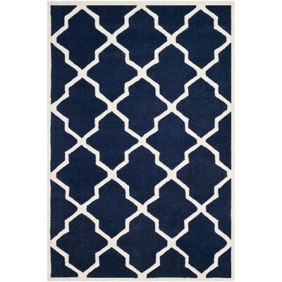 Wilkin Dark Blue / Ivory Rug Rug Size: 4' x 6'
