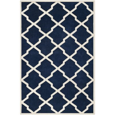 Wilkin Hand-Tufted Wool Dark Blue/Ivory Area Rug Rug Size: Rectangle 6 x 9