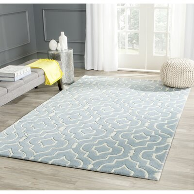 Wilkin Hand-Tufted Wool Blue/Ivory Area Rug Rug Size: Rectangle 6 x 9