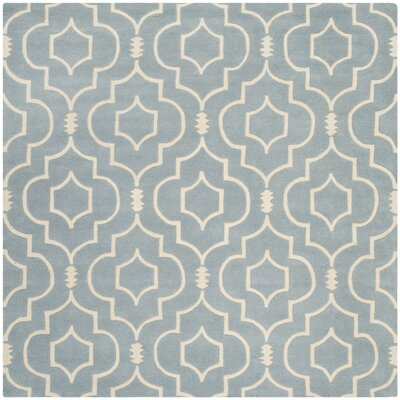 Wilkin Hand-Tufted Wool Blue/Ivory Area Rug Rug Size: Square 7